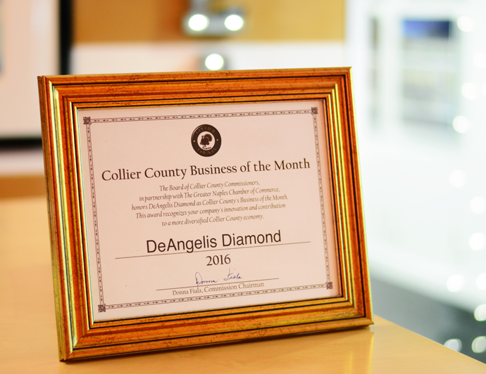 DeAngelis Diamond Named Collier County Business of the Month July 2016